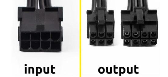 Переходник 6 pin 8 pin для видеокарты