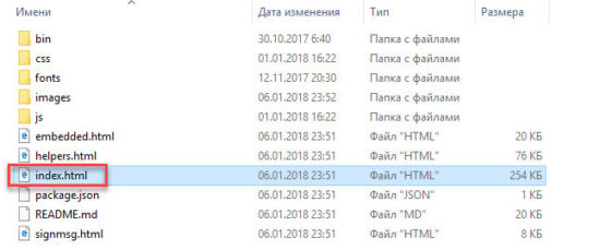 Выбор файла для запуска локальной версии